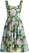 Dolce & Gabbana Hydrangea-print gathered-skirt cotton-poplin dress