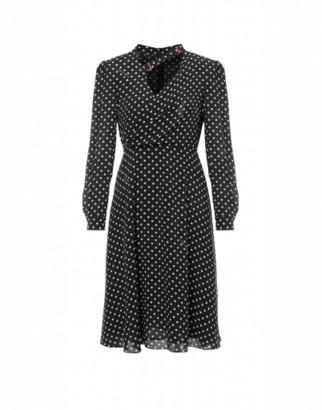 Boutique Moschino Polka Dots Crepe De Chine Dress Woman Black Size 38 It - (4 Us)