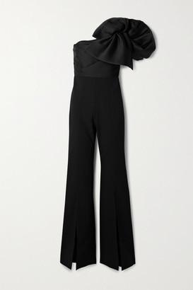 SOLACE London Laney One-shoulder Embellished Faille And Crepe Jumpsuit - Black