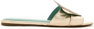 Blue Bird Shoes Concha leather flat slides