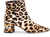 Miu Miu Jeweled Fur Ankle Boots in Leopard | FWRD