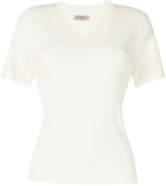 Twin-Set ribbed V-neck knitted top