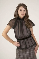 Corey Lynn Calter Gina High Neck Ruched Top in Onyx