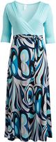 Glam Turquoise & Aqua Abstract Tie-Waist Surplice Maxi Dress - Plus