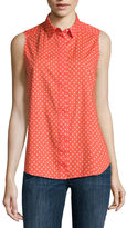 Liz Claiborne Sleeveless Button-Front Polka Dot Shirt