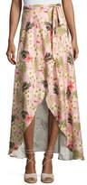 Miguelina Ballerina Printed Long Wrap Linen Skirt, Pink