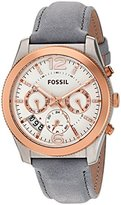 Fossil Women's Quartz Stainless Steel and Leather Automatic Watch, Color:Grey (Model: ES4081)