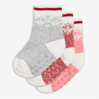 Joe Fresh Baby Girls' 3 Pack Fair Isle Socks, Cream (Size 12-24)