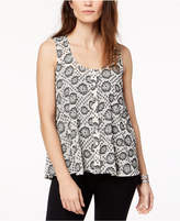 Style&Co. Style & Co Printed Sleeveless Button-Front Top, Created for Macy's