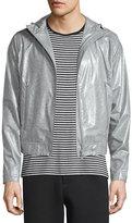 ATM Anthony Thomas Melillo Coated Zip-Up Hooded Wind-Blocking Jacket, Light Gray