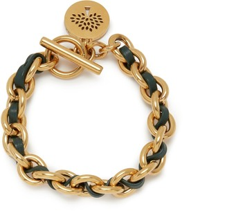 Mulberry Medium Medallion Leather Chain Bracelet Black and Gold Calfskin and Brass