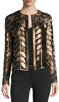 Neiman Marcus Metallic Leather Leaf & Mesh Combo Jacket