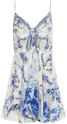 Camilla Knotted Crystal-embellished Printed Silk Crepe De Chine Mini Slip Dress