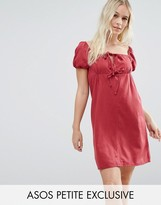 Asos Denim Babydoll Dress with Strap Detail in Raspberry