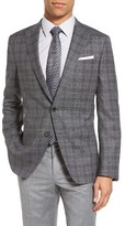 BOSS Men's Hanwyn Trim Fit Plaid Wool Sport Coat