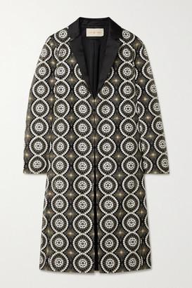 Tory Burch Satin-trimmed Embellished Organza Jacket - Black