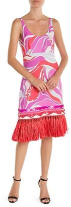 Emilio Pucci Sable Embellished Hem Print Tank Dress