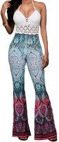 Eiffel Store Eiffel Women's Mint Paisley Print Ruffled Flared Palazzo Trousers Long Pants