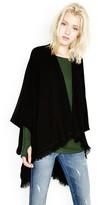 Michael Lauren Texas Fringe Sweater Wrap in Black