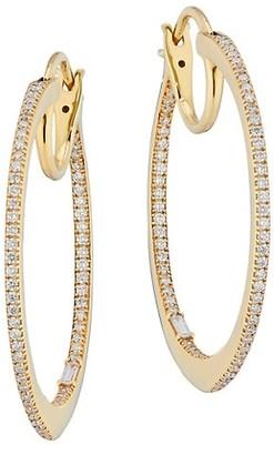 Celara Small 14K Yellow Gold & Diamond Inside-Outside Hoop Earrings