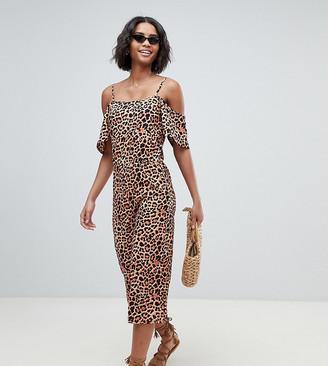 South Beach Exclusive beach jumpsuit in leopard print-Multi