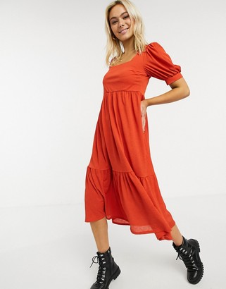 ASOS DESIGN midi smock dress with square neck in rust