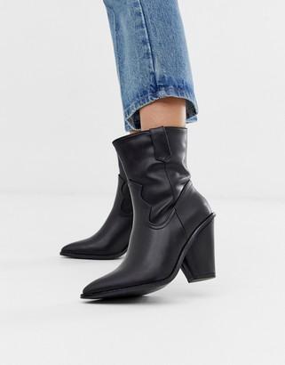 Glamorous black western heeled ankle boots