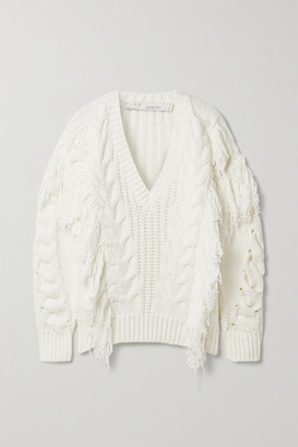 IRO Wynd Fringed Cable-knit Cotton-blend Sweater