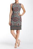 London Times Twill Paisley Boatneck Dress (Petite)