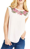 Oasis Evagrace Lace Trim T-Shirt, White