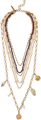 Oscar de la Renta Gold-tone, Quartz, Crystal And Bead Necklace