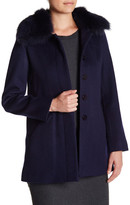 Sofia Cashmere Genuine Fox Fur Wool Blend Car Coat