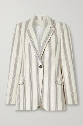 Brunello Cucinelli Sequined Striped Cotton-blend Poplin Blazer - Ecru