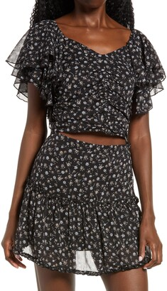 Lulus Miya Ruffle Sleeve Chiffon Crop Top