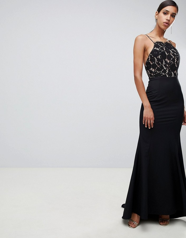 Jarlo lace top open back fishtail maxi dress in black