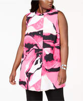 Alfani Plus Size Button-Up Printed Tunic, Created for Macy's