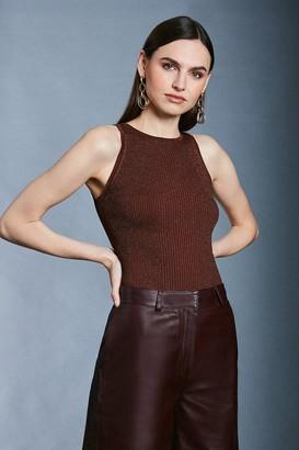 Karen Millen Sparkle Knit Rib Cut Away Vest Top