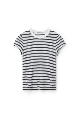 Alexander Wang Striped Slub Shrunken Tee