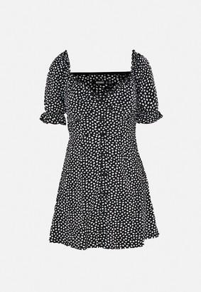 Missguided Black Dalmatian Print Milkmaid A Line Mini Dress