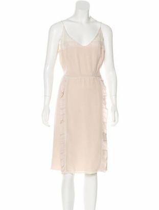 Prada Silk Lace-Trimmed Dress pink