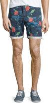Wesc Rai Floral-Print Chino Shorts, Deep Water
