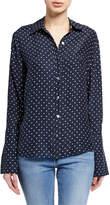 Frame Clean Dot-Print Pajama Button-Front Blouse