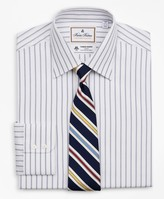 Brooks Brothers Luxury Collection Regent Fitted Dress Shirt, Franklin Spread Collar Micro-Outline Stripe