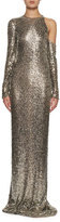 Tom Ford Long-Sleeve Square-Embroidered Gown, Gray