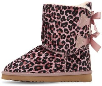 Colors of California Leopard Print Velvet Boots
