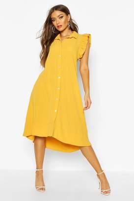 boohoo Woven Frill Sleeveless Midi Dress