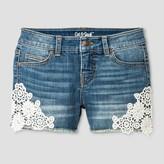 Cat & Jack Girls' Denim Shorts with Crochet Lace Medium Wash