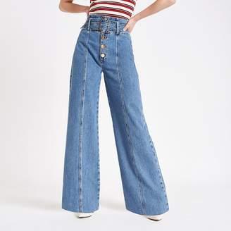 River Island Mid blue belted wide leg denim jeans