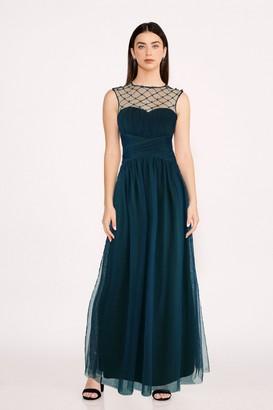 Little Mistress Bridesmaid Justice Green Embellished Maxi Dress