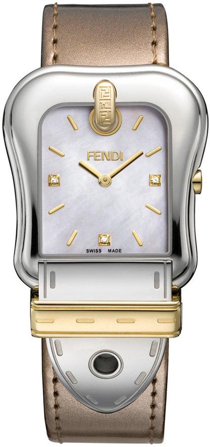 Fendi Timepieces Watch, Women's Swiss B. Diamond Accent Nougat Leather Strap 43x33mm F380114561D1